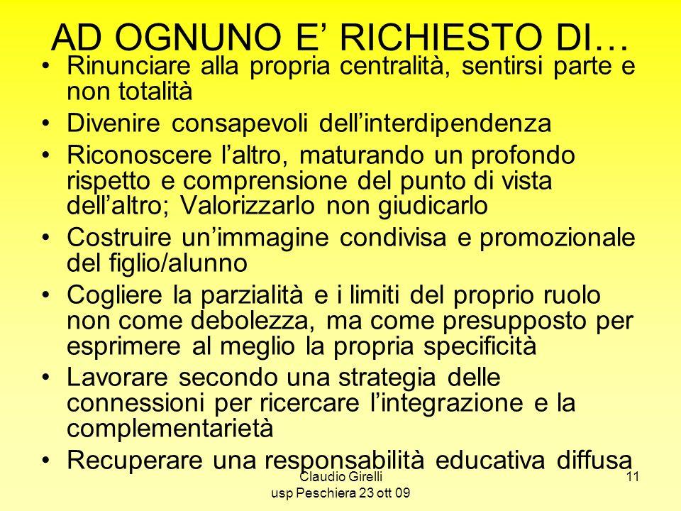 Claudio Girelli usp Peschiera 23 ott 09 11 AD OGNUNO E RICHIESTO DI… Rinunciare alla propria centralità, sentirsi parte e non totalità Divenire consap