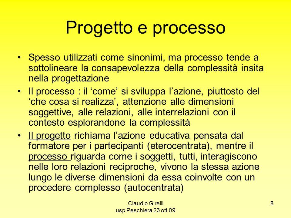 8 Progetto e processo Spesso utilizzati come sinonimi, ma processo tende a sottolineare la consapevolezza della complessità insita nella progettazione