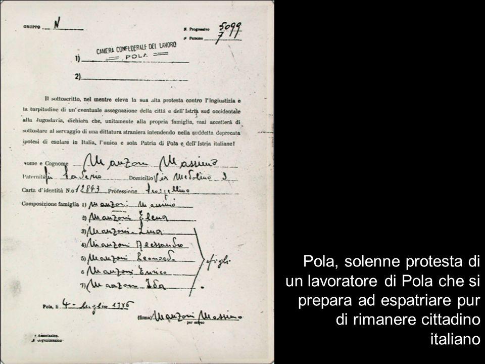Pola, solenne protesta di un lavoratore di Pola che si prepara ad espatriare pur di rimanere cittadino italiano