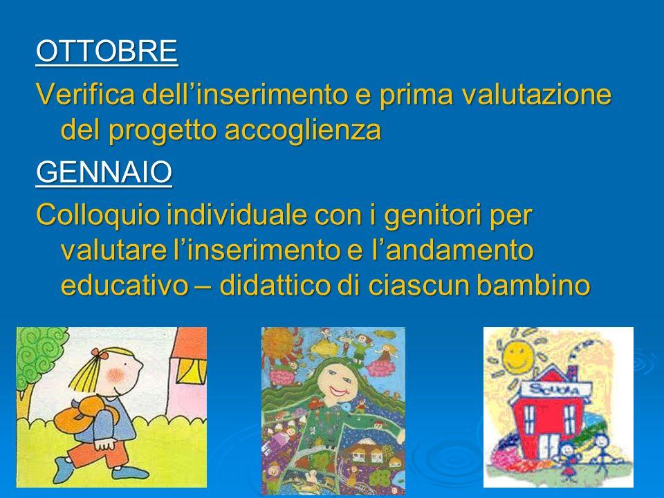 OTTOBRE Verifica dellinserimento e prima valutazione del progetto accoglienza GENNAIO Colloquio individuale con i genitori per valutare linserimento e