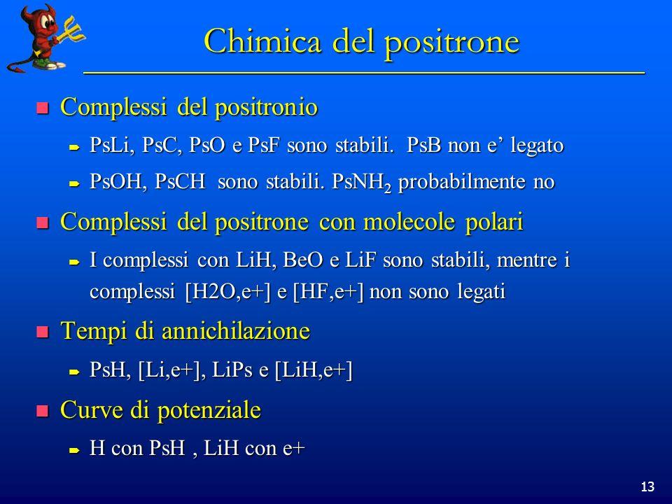 13 Chimica del positrone Complessi del positronio Complessi del positronio PsLi, PsC, PsO e PsF sono stabili. PsB non e legato PsLi, PsC, PsO e PsF so