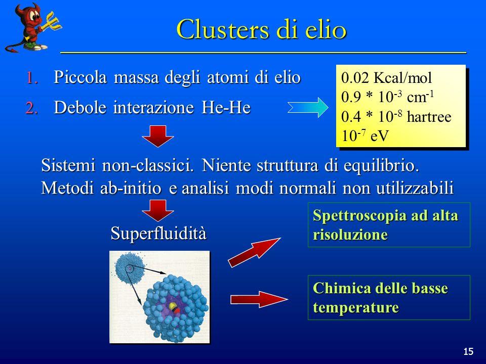 15 Clusters di elio 1. Piccola massa degli atomi di elio 2. Debole interazione He-He 0.02 Kcal/mol 0.9 * 10 -3 cm -1 0.4 * 10 -8 hartree 10 -7 eV Sist