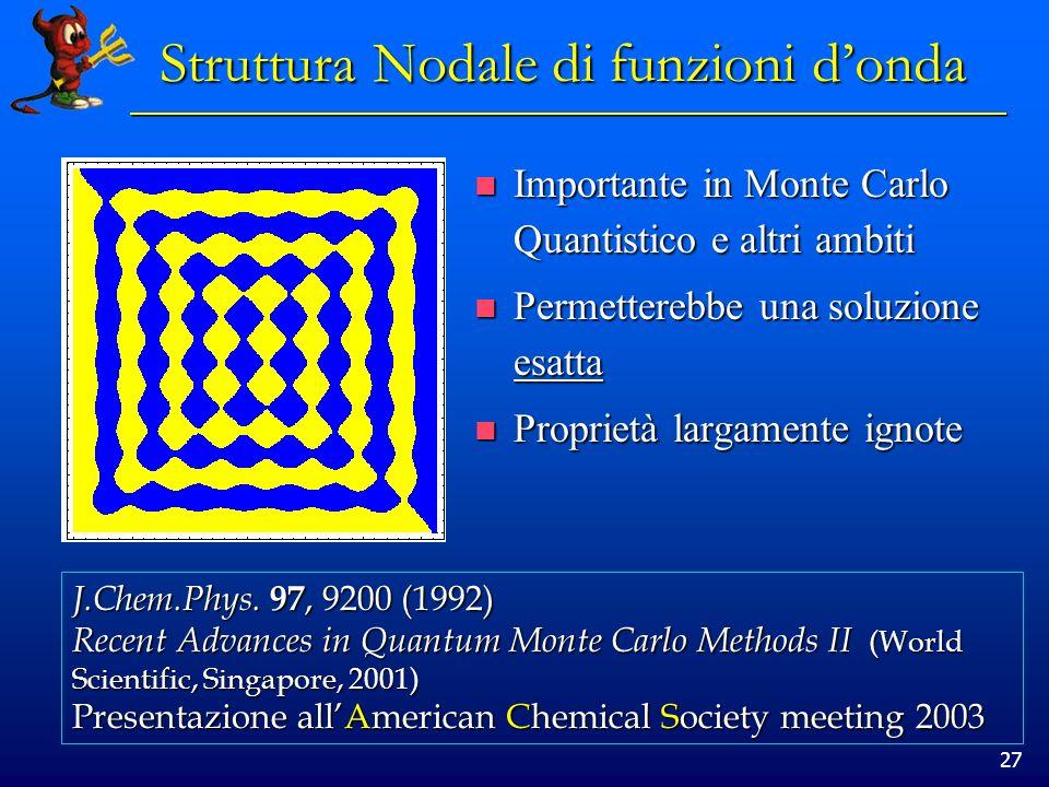 27 Struttura Nodale di funzioni donda Importante in Monte Carlo Quantistico e altri ambiti Importante in Monte Carlo Quantistico e altri ambiti Permet