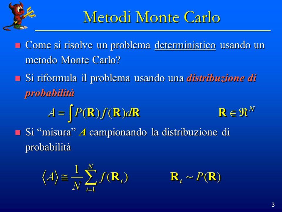 3 Metodi Monte Carlo Come si risolve un problema deterministico usando un metodo Monte Carlo? Come si risolve un problema deterministico usando un met