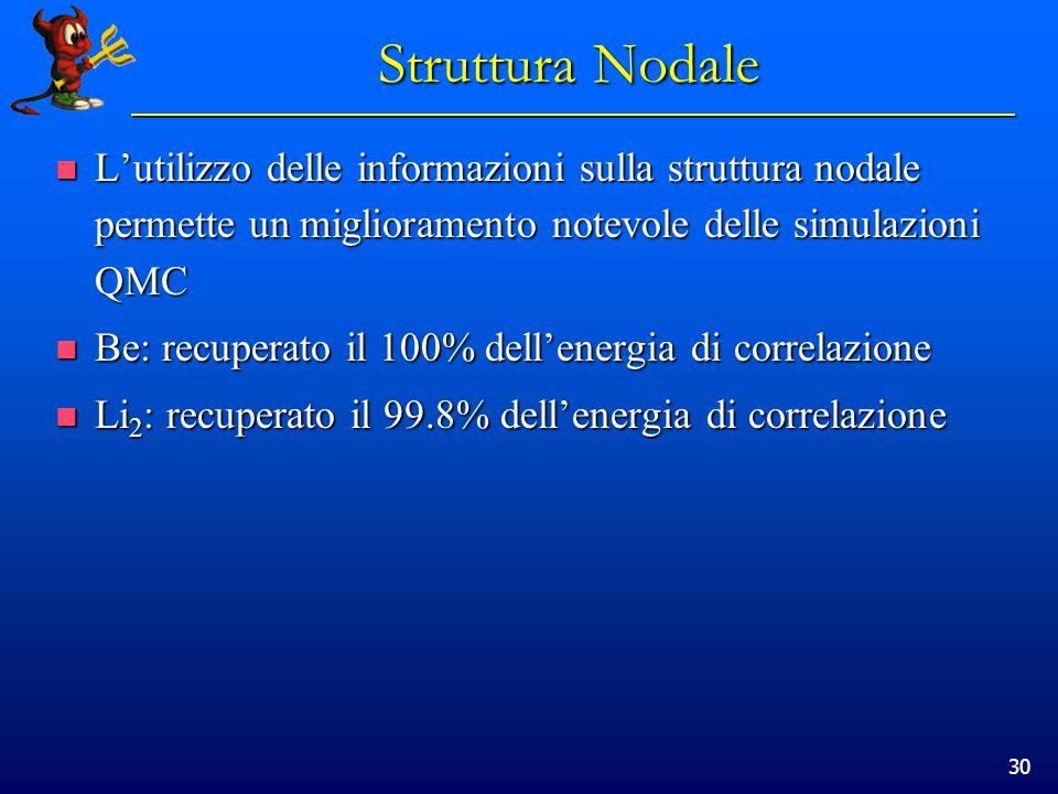 30 Struttura Nodale Lutilizzo delle informazioni sulla struttura nodale permette un miglioramento notevole delle simulazioni QMC Lutilizzo delle infor