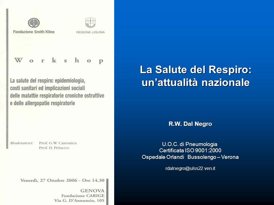 R.W. Dal Negro U.O.C. di Pneumologia Certificata ISO 9001:2000 Ospedale Orlandi Bussolengo – Verona rdalnegro@ulss22.ven.it La Salute del Respiro: una