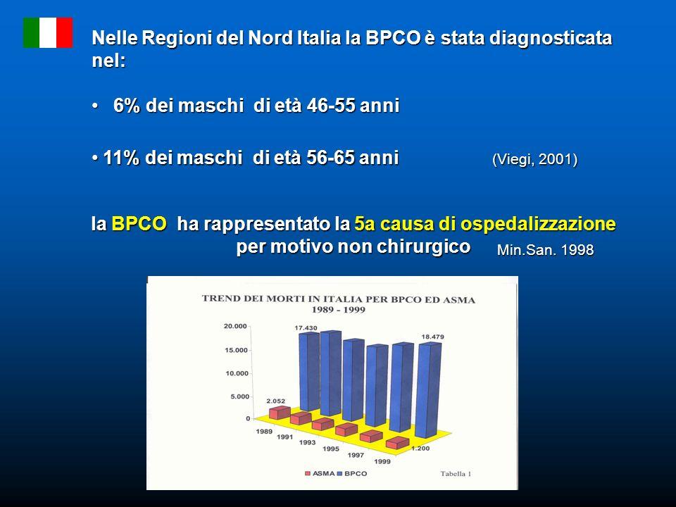 Nelle Regioni del Nord Italia la BPCO è stata diagnosticata nel: 6% dei maschi di età 46-55 anni 6% dei maschi di età 46-55 anni 11% dei maschi di età