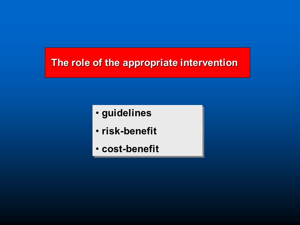 guidelines risk-benefit cost-benefit guidelines risk-benefit cost-benefit The role of the appropriate intervention The role of the appropriate intervention