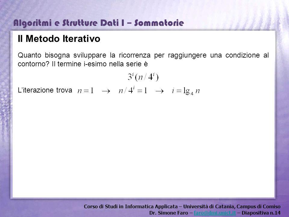 Corso di Studi in Informatica Applicata – Università di Catania, Campus di Comiso Dr. Simone Faro – faro@dmi.unict.it – Diapositiva n.14faro@dmi.unict