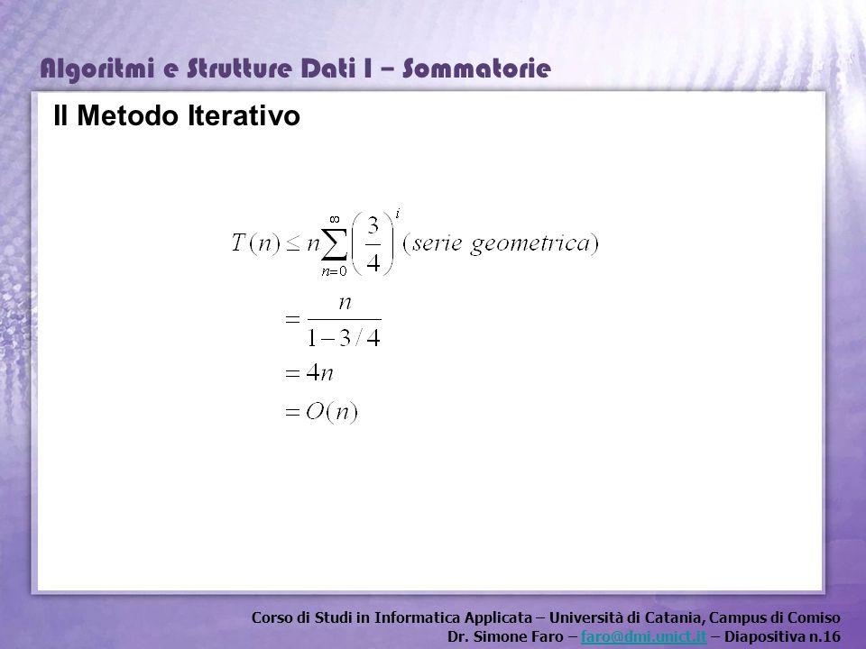 Corso di Studi in Informatica Applicata – Università di Catania, Campus di Comiso Dr. Simone Faro – faro@dmi.unict.it – Diapositiva n.16faro@dmi.unict