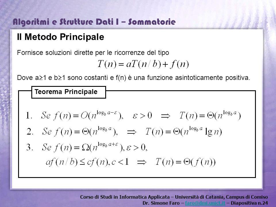 Corso di Studi in Informatica Applicata – Università di Catania, Campus di Comiso Dr. Simone Faro – faro@dmi.unict.it – Diapositiva n.24faro@dmi.unict