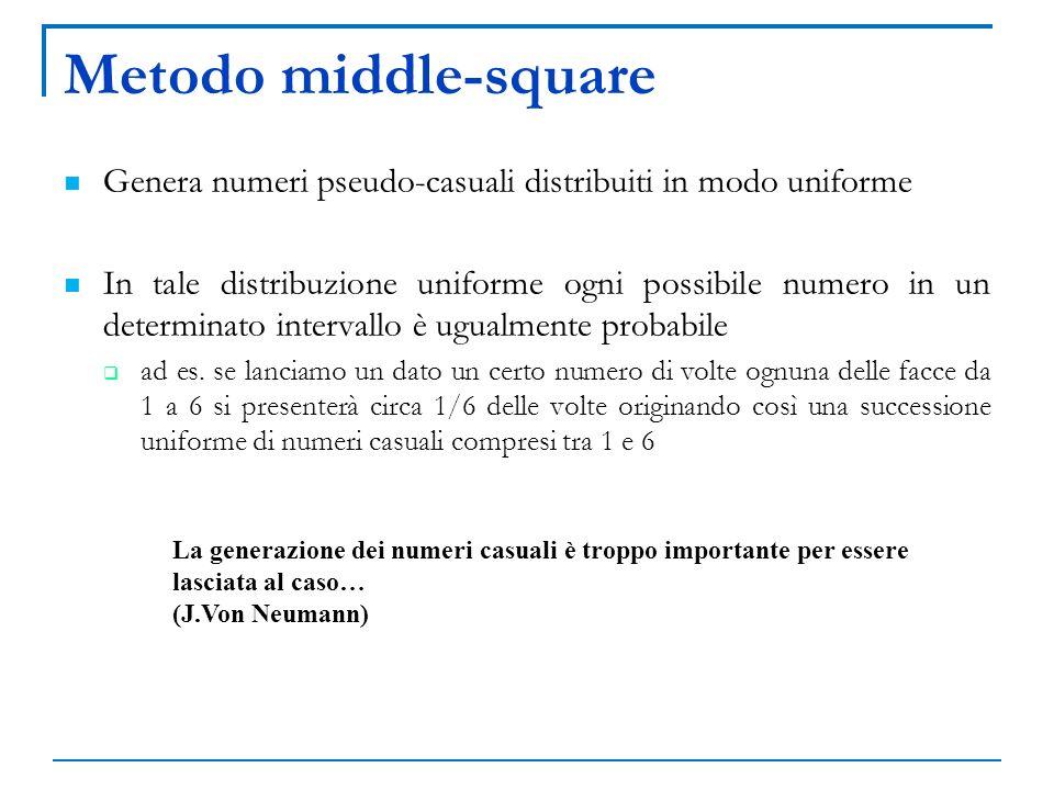 Metodo middle-square Genera numeri pseudo-casuali distribuiti in modo uniforme In tale distribuzione uniforme ogni possibile numero in un determinato