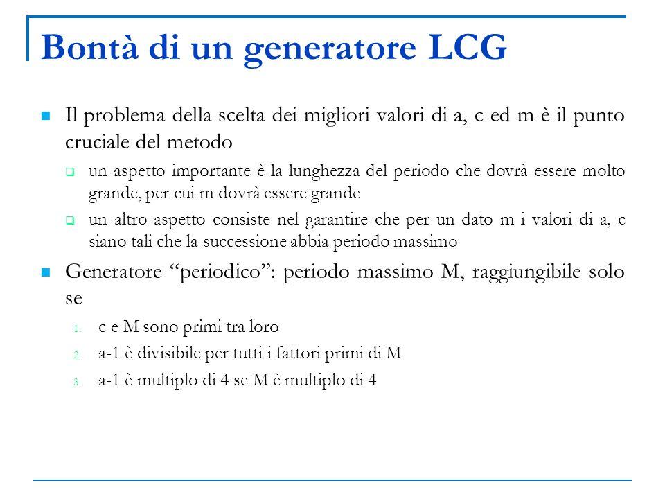 Bontà di un generatore LCG Il problema della scelta dei migliori valori di a, c ed m è il punto cruciale del metodo un aspetto importante è la lunghez