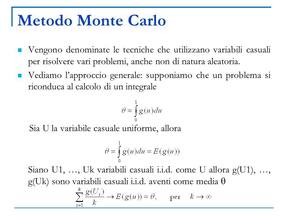 Metodo Monte Carlo Vengono denominate le tecniche che utilizzano variabili casuali per risolvere vari problemi, anche non di natura aleatoria. Vediamo