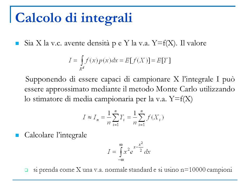 Calcolo di integrali Sia X la v.c. avente densità p e Y la v.a. Y=f(X). Il valore Supponendo di essere capaci di campionare X lintegrale I può essere