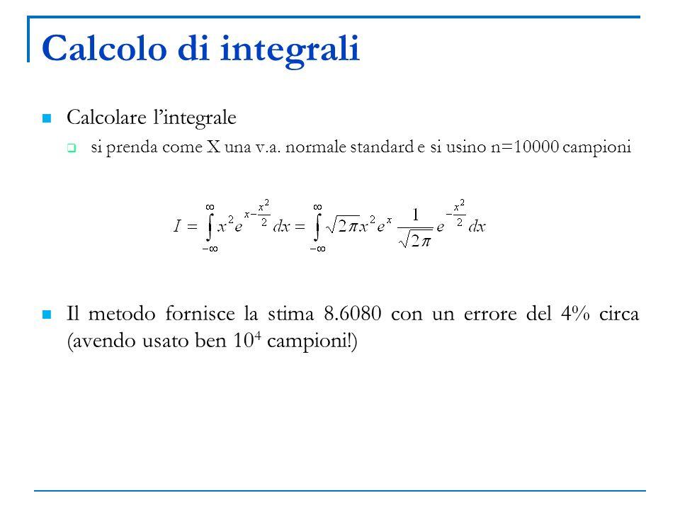 Calcolo di integrali Calcolare lintegrale si prenda come X una v.a. normale standard e si usino n=10000 campioni Il metodo fornisce la stima 8.6080 co