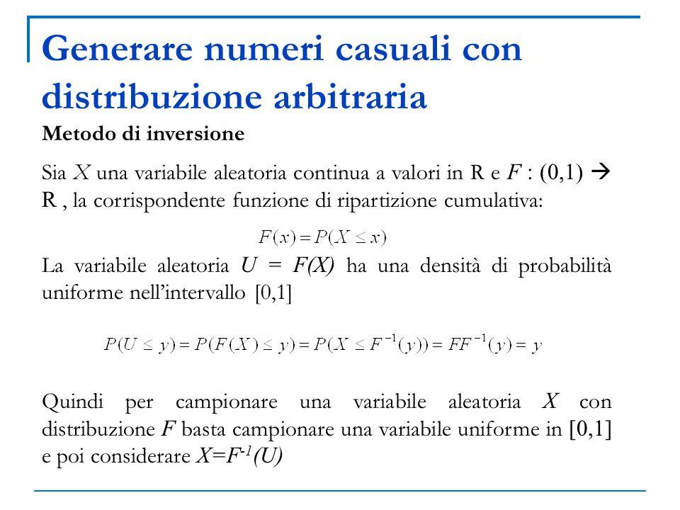 Generare numeri casuali con distribuzione arbitraria Metodo di inversione Sia X una variabile aleatoria continua a valori in R e F : (0,1) R, la corri