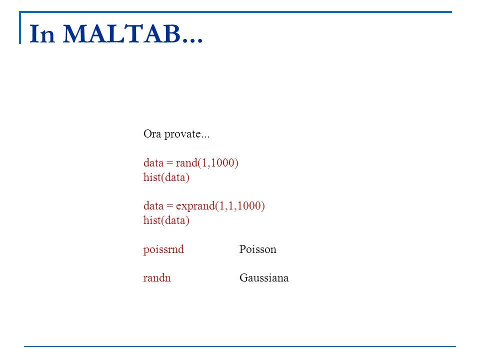In MALTAB... Ora provate... data = rand(1,1000) hist(data) data = exprand(1,1,1000) hist(data) poissrndPoisson randnGaussiana