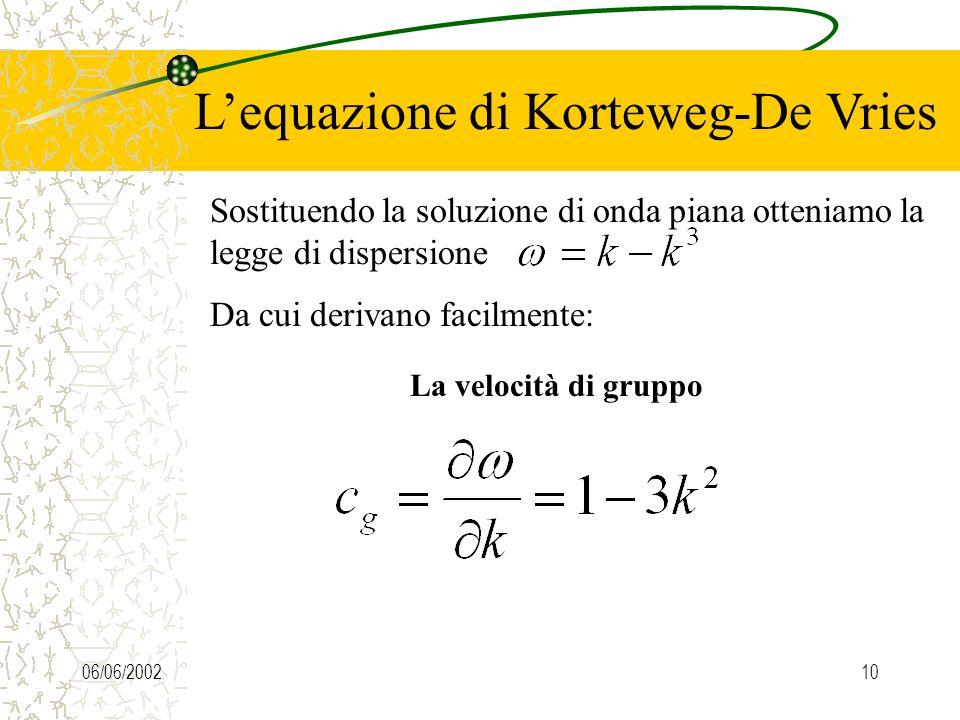 06/06/20029 Lequazione di Korteweg-De Vries Prima di vedere la soluzione esatta dellequazione KdV, procediamo ad una analisi qualitativa. Cerchiamo pr