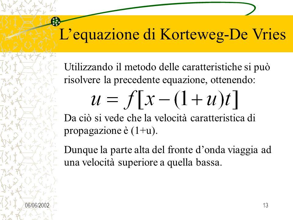 06/06/200212 Lequazione di Korteweg-De Vries Dunque il termine e dunque è quello responsabile della dispersione del pacchetto ondoso. Consideriamo inv