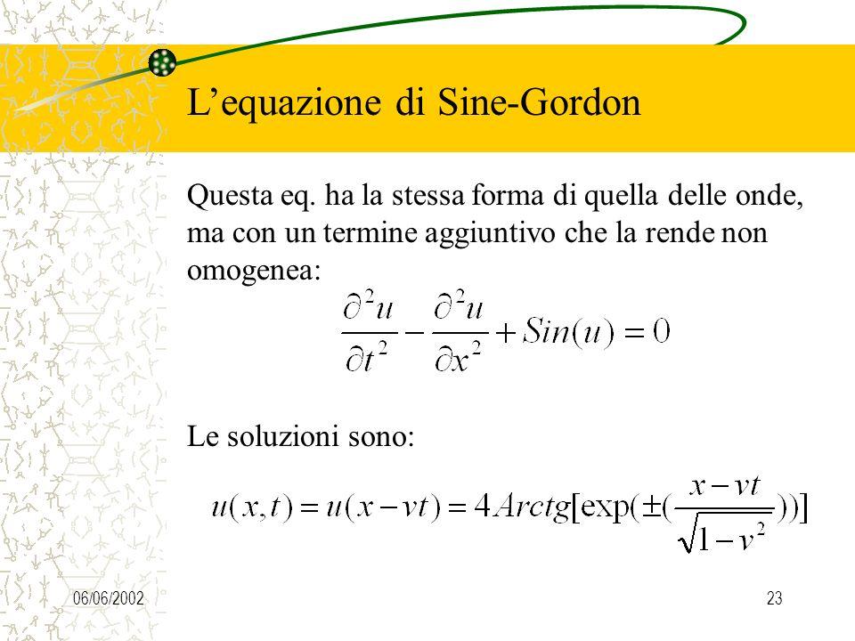 06/06/200222 Lequazione di Schroedinger non lineare La cosa interessante è che simulazioni numeriche hanno mostrato anche per questo secondo tipo di s
