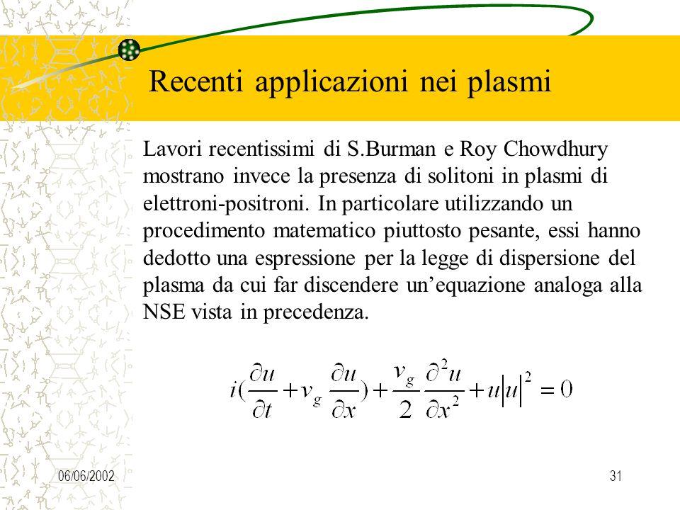 06/06/200230 Recenti applicazioni nei plasmi La precedente equazione ricorda molto da vicino la soluzione della KdV, nonostante il termine addizionale