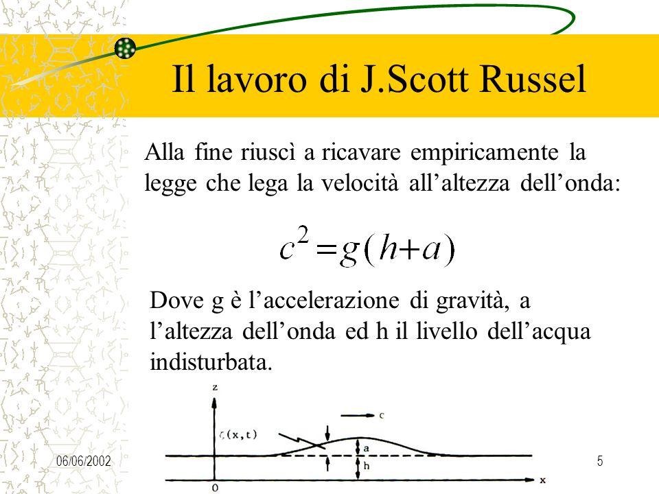 06/06/20024 Il lavoro di J.Scott Russel Russel allestì dunque alcuni esperimenti, gettando in un piccolo canale dacqua alcuni pesi,ed osservando le ca