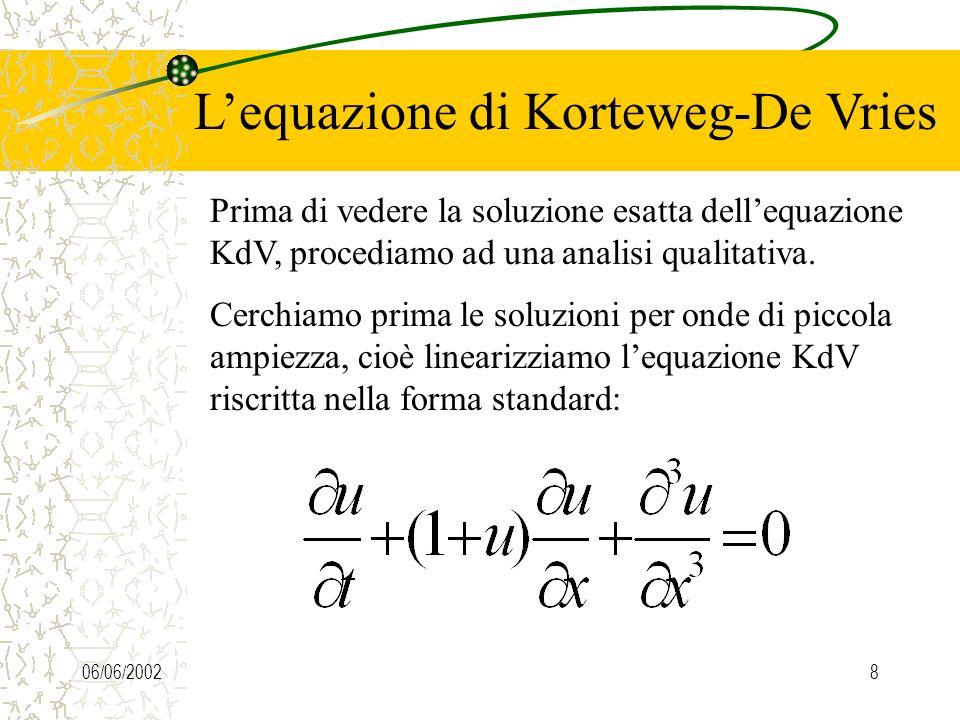 06/06/20027 Lequazione di Korteweg-De Vries Nel 1895 Korteweg e De Vries, riprendendo in parte un lavoro di Rayleigh e Boussinesq, riuscirono a ricava