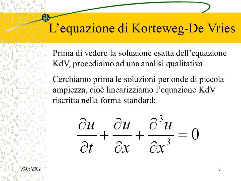 06/06/20028 Lequazione di Korteweg-De Vries Prima di vedere la soluzione esatta dellequazione KdV, procediamo ad una analisi qualitativa. Cerchiamo pr