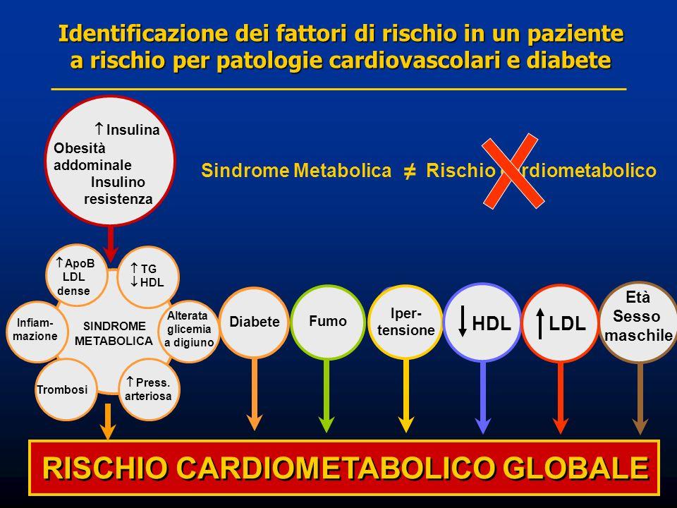 RISCHIO CARDIOMETABOLICO GLOBALE Iper- tensione Età Sesso maschile Diabete SINDROME METABOLICA Infiam- mazione ApoB LDL dense TG HDL Press. arteriosa
