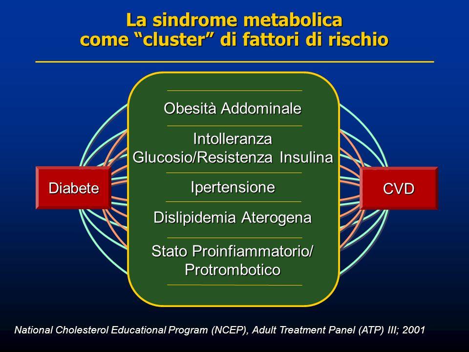 Obesità Addominale Intolleranza Glucosio/Resistenza Insulina Ipertensione Dislipidemia Aterogena Stato Proinfiammatorio/ Protrombotico National Choles