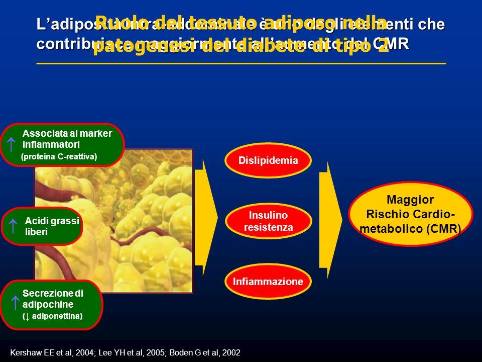 Ladiposità intra-addominale è uno degli elementi che contribuisce maggiormente allaumento del CMR Kershaw EE et al, 2004; Lee YH et al, 2005; Boden G