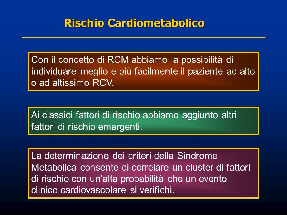 Rischio Cardiometabolico Rischio Cardiometabolico Con il concetto di RCM abbiamo la possibilità di individuare meglio e più facilmente il paziente ad