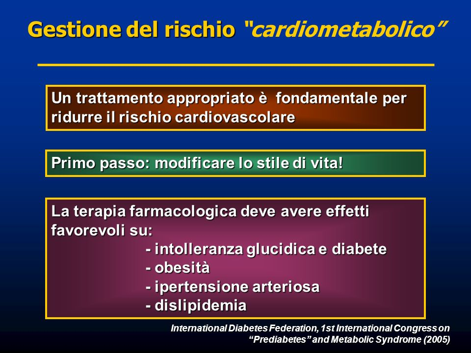 International Diabetes Federation, 1st International Congress on Prediabetes and Metabolic Syndrome (2005) Un trattamento appropriato è fondamentale p