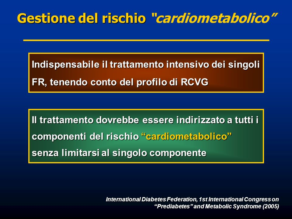 International Diabetes Federation, 1st International Congress on Prediabetes and Metabolic Syndrome (2005) Gestione del rischio Gestione del rischio c