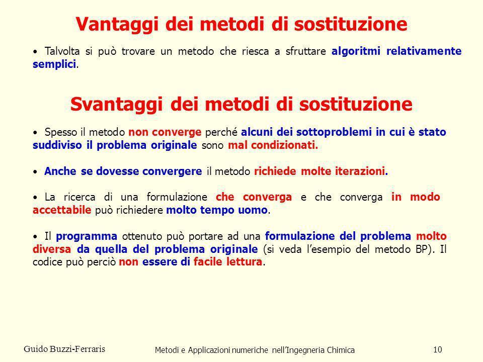 Metodi e Applicazioni numeriche nellIngegneria Chimica 10 Guido Buzzi-Ferraris Vantaggi dei metodi di sostituzione Svantaggi dei metodi di sostituzion