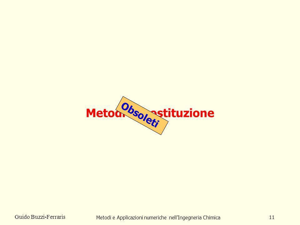 Metodi e Applicazioni numeriche nellIngegneria Chimica 11 Guido Buzzi-Ferraris Metodi di sostituzione Obsoleti