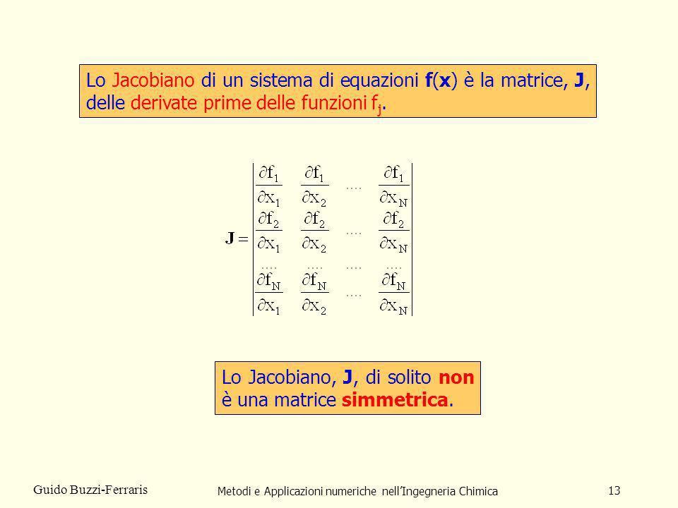 Metodi e Applicazioni numeriche nellIngegneria Chimica 13 Guido Buzzi-Ferraris Lo Jacobiano di un sistema di equazioni f(x) è la matrice, J, delle der