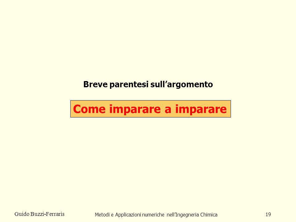 Metodi e Applicazioni numeriche nellIngegneria Chimica 19 Guido Buzzi-Ferraris Breve parentesi sullargomento Come imparare a imparare
