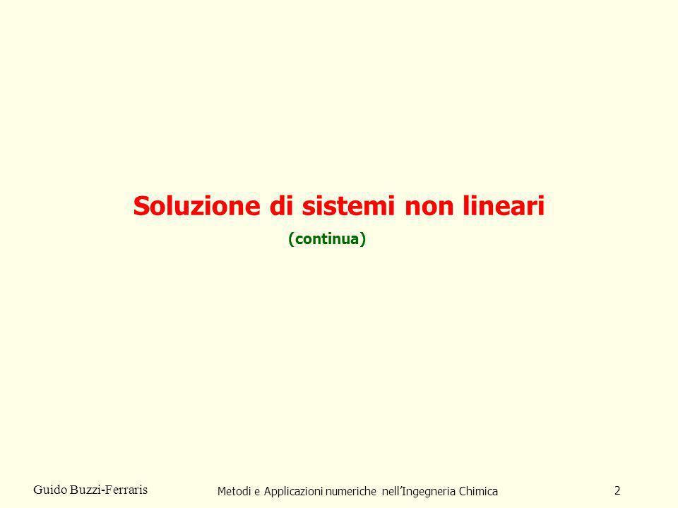 Metodi e Applicazioni numeriche nellIngegneria Chimica 2 Guido Buzzi-Ferraris Soluzione di sistemi non lineari (continua)