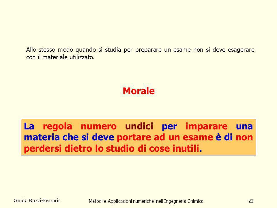 Metodi e Applicazioni numeriche nellIngegneria Chimica 22 Guido Buzzi-Ferraris Morale La regola numero undici per imparare una materia che si deve por