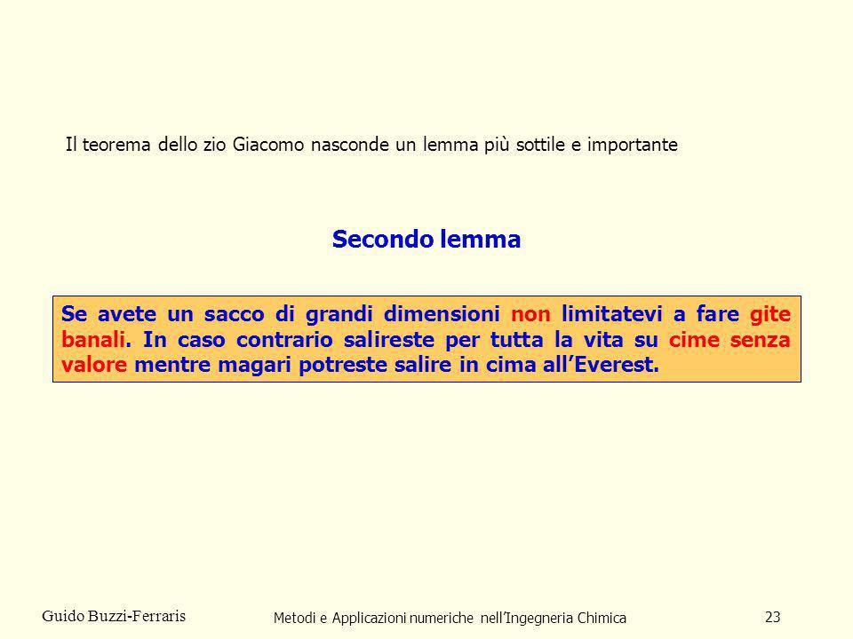 Metodi e Applicazioni numeriche nellIngegneria Chimica 23 Guido Buzzi-Ferraris Il teorema dello zio Giacomo nasconde un lemma più sottile e importante