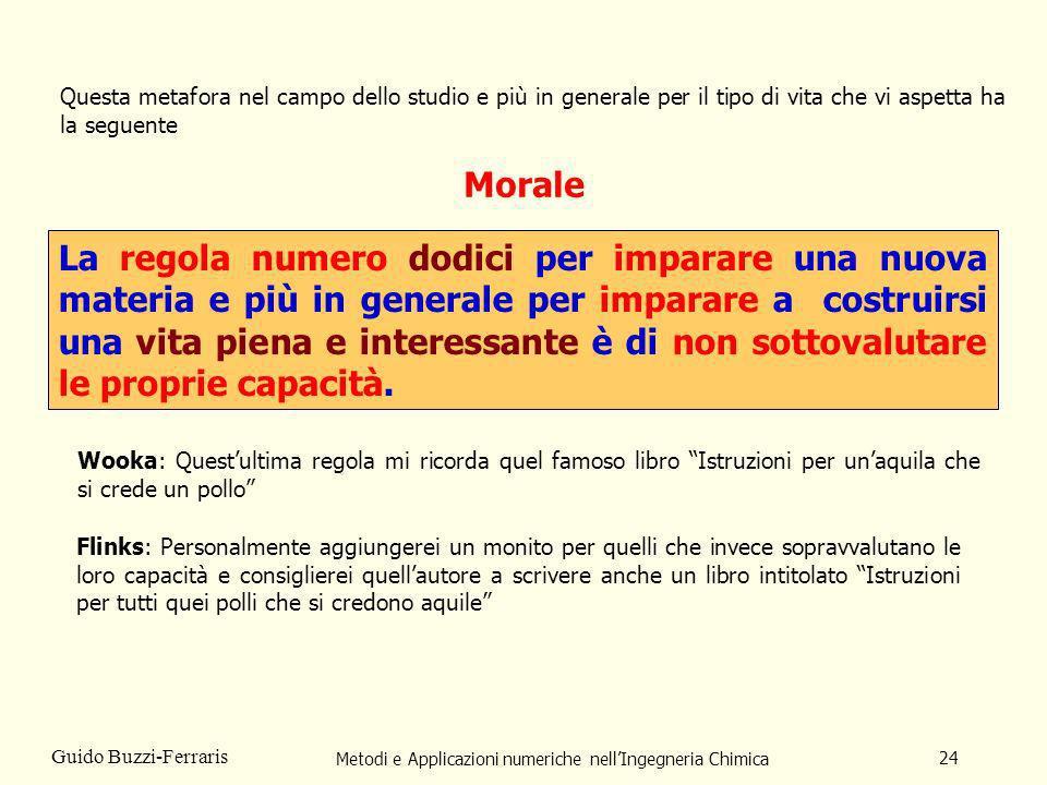 Metodi e Applicazioni numeriche nellIngegneria Chimica 24 Guido Buzzi-Ferraris Morale La regola numero dodici per imparare una nuova materia e più in