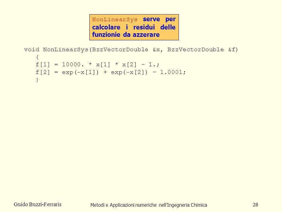 Metodi e Applicazioni numeriche nellIngegneria Chimica 28 Guido Buzzi-Ferraris void NonLinearSys(BzzVectorDouble &x, BzzVectorDouble &f) { f[1] = 1000