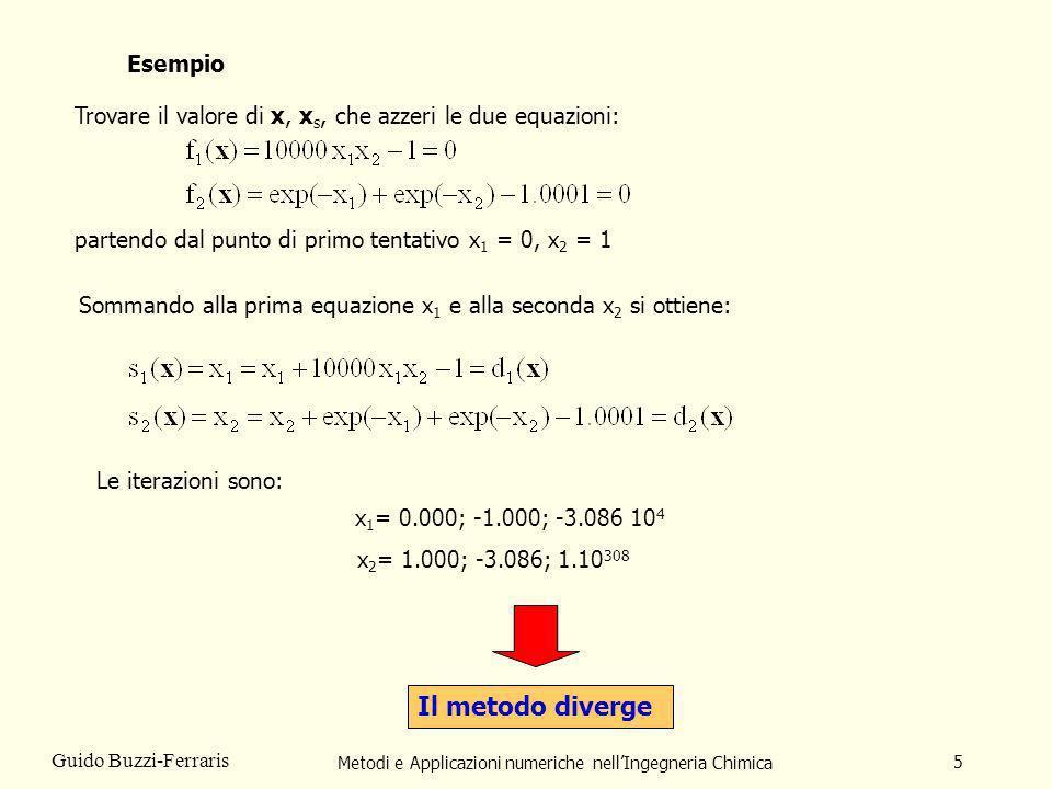 Metodi e Applicazioni numeriche nellIngegneria Chimica 5 Guido Buzzi-Ferraris Esempio Trovare il valore di x, x s, che azzeri le due equazioni: parten