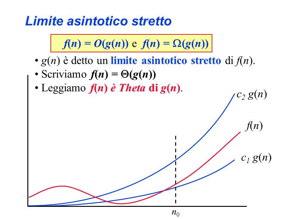 Limite asintotico stretto f(n)f(n) c 1 g(n) f(n) = O(g(n)) e f(n) = (g(n)) g(n) è detto un limite asintotico stretto di f(n). Scriviamo f(n) = (g(n))