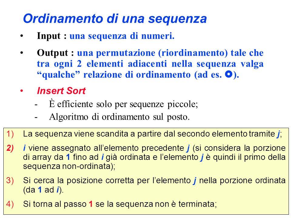 Ordinamento di una sequenza Input : una sequenza di numeri. Output : una permutazione (riordinamento) tale che tra ogni 2 elementi adiacenti nella seq