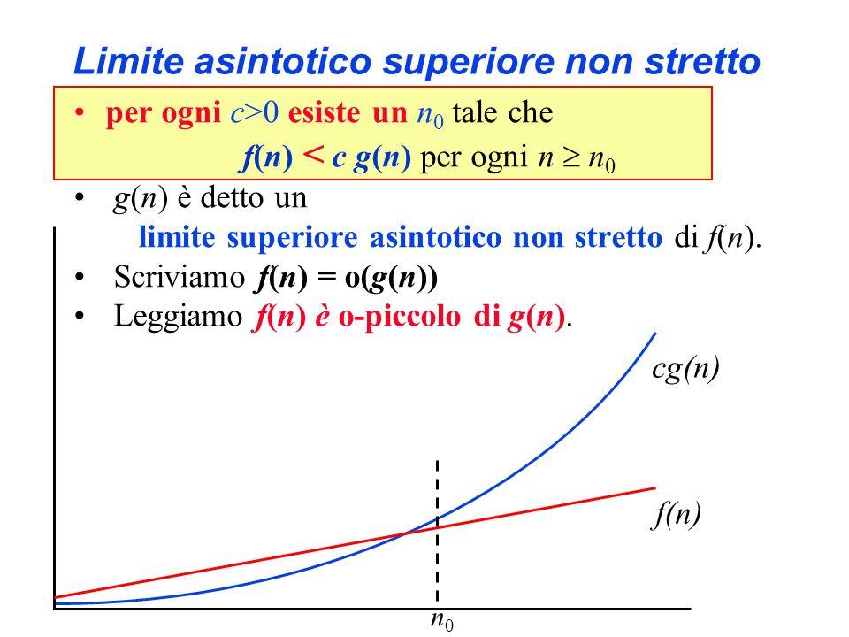 Limite asintotico superiore non stretto per ogni c>0 esiste un n 0 tale che f(n) < c g(n) per ogni n n 0 g(n) è detto un limite superiore asintotico n