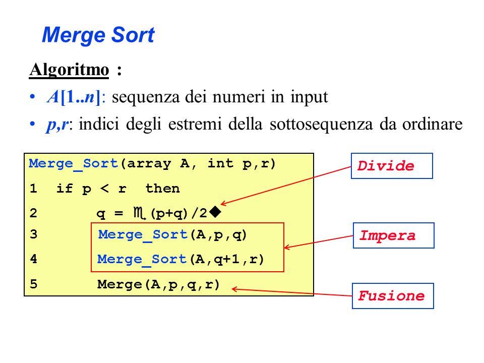 Merge Sort Algoritmo : A[1..n]: sequenza dei numeri in input p,r: indici degli estremi della sottosequenza da ordinare Merge_Sort(array A, int p,r) 1