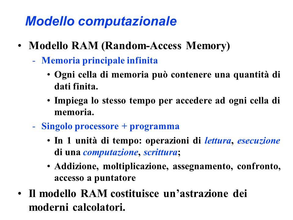 Modello computazionale Modello RAM (Random-Access Memory) -Memoria principale infinita Ogni cella di memoria può contenere una quantità di dati finita